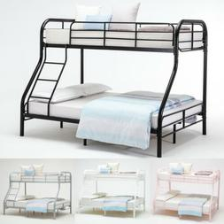 Twin over Full Size Metal Bunk Beds Kid Teen Bedroom Furnitu