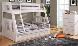 Discovery World Furniture Twin over Full White Mission Bunk