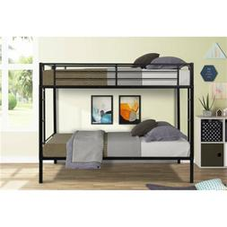Twin over Metal Bunk Bed W/ Two-side Ladder Boy&Girl Bedroom