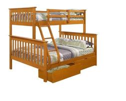 DONCO Twin over Full Mission Bunk Bed with Drawers-Fixed Lad