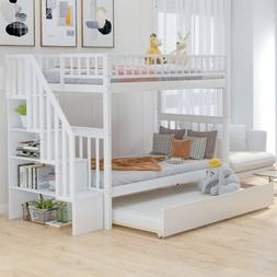 Twin over twin bunk bed with trundle and storage Bunk Beds B