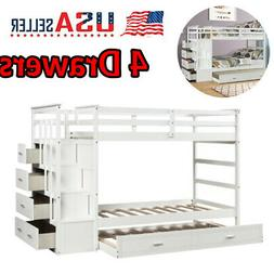 Twin Over Twin Bunk Beds Kid Adult Wood Loft  Bed W/Drawers