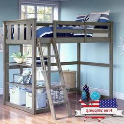 Twin Size Bunk Bed Wooden Loft Home Bedroom Teens Child Safe