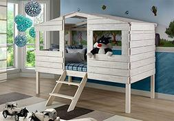 Donco Kids Twin Tree House Loft Bed in Rustic Sand Finish