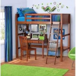 Your Zone Twin Wood Loft Style Bunk Bed Walnut