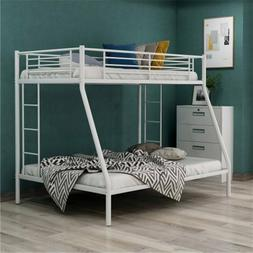 White Twin over Full Metal Bunk Beds Frame Ladder Kids Adult