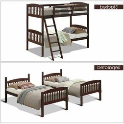 Wood Solid Hardwood Twin Bunk Beds Convertable Kids Ladder S