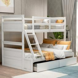 Wood Twin over Full Bunk Bed Kids Wooden Bunk Beds w/Ladder