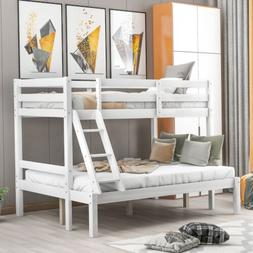 Wood Twin over Full Bunk Bed Kids Wooden Bunk Beds with Ladd