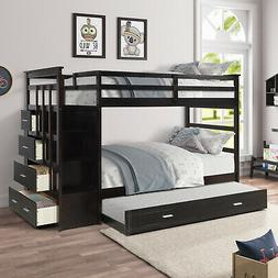 Wood Bunk Bed Twin over Twin Kids Bunk Beds with Wooden Trun