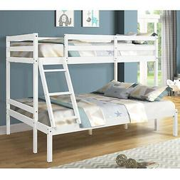 Wooden Bunk Beds Twin Over Full Size with Ladder and Guard R