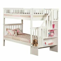 Woodland Staircase Bunk Bed, White, Twin Over Twin