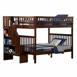 Woodland Staircase Bunkbed Full over Full in Antique Walnut
